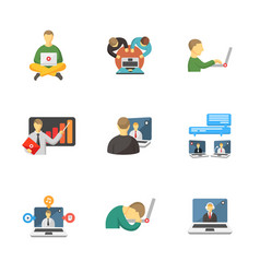 Laptop and people icons vector