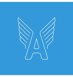 Letter a logo with wings in thin lines vector