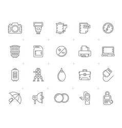 line camera equipment and photography icons vector image