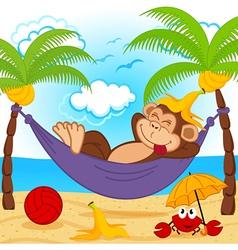 Monkey on hammock vector