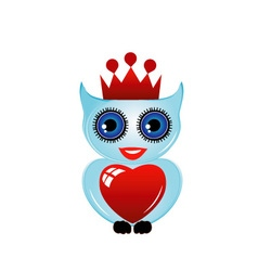 Owl with crown and heart vector