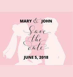 save the date card with bride and groom vector image