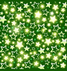 Seamless pattern with shining stars on green vector