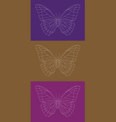 set of geometric linear butterflies vector image