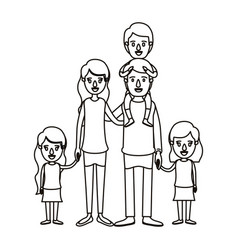 Silhouette caricature big family parents with boy vector