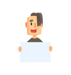 smiling young man with piece of blank paper vector image vector image