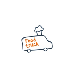 Street van with fast food logo design vector