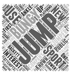 The sport of bungy jumping word cloud concept vector