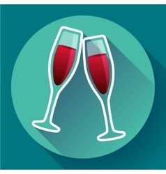 Two glasses of wine flat icon - celebration symbol vector image