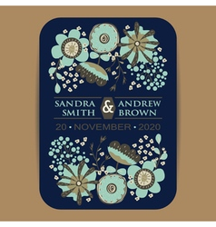 Wedding invItation card with flowers navy blue vector image vector image
