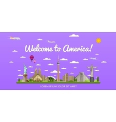 Welcome to america poster with famous attractions vector