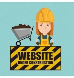 Woman website under construction avatar vector