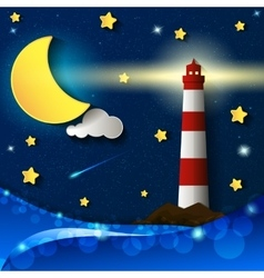 Lighthouse storm night vector