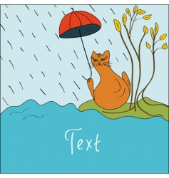 card with a cat in the rain vector image