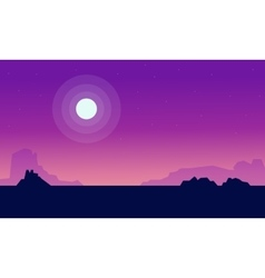 Silhouette of fields with moon landscape vector