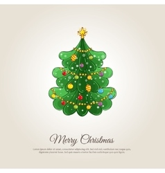 Merry christmas banner with decorated xmas tree vector