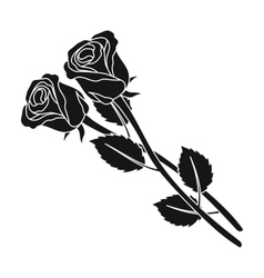 Two roses icon in black style isolated on white vector image