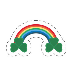 cartoon st patricks day rainbow clover icon vector image