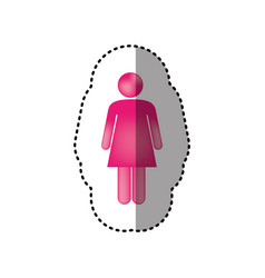 sticker 3d colorful pictogram woman design vector image