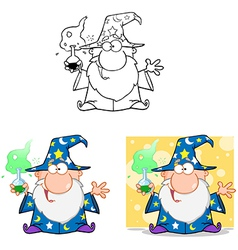 Crazy wizard holding a magic potion collection vector