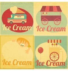 Ice Cream Retro Labels vector image