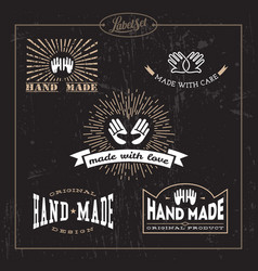 Hand made label set vector