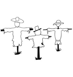 set of scarecrows vector image