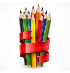 Pencils tied with ribbon on vector