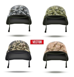 Set of military camouflage helmets vector