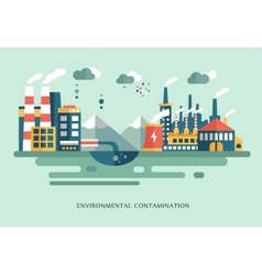 Pollution urban landscape the plant with pipes vector