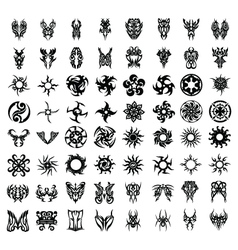 64PCS TRIBAL TATTOO SET vector image