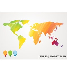 Colorful paper cut world map water color abstract vector