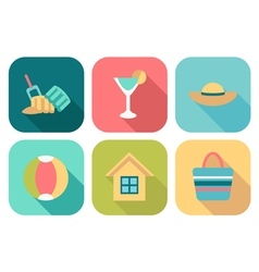Set of flat summer icons with shadow vector