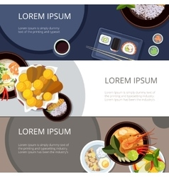 Asia food banners set Thai food japanese vector image vector image