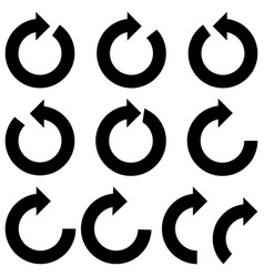 Black color circle arrows icon black color vector