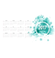 Calendar 2017 week starts from sunday blue vector