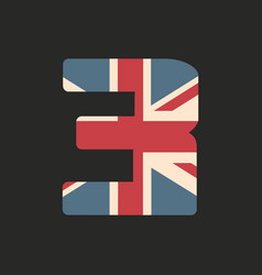 Capital number three with uk flag texture vector