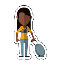 Cartoon woman tourist with camera and suitcase vector