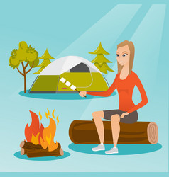 Caucasian girl roasting marshmallow over campfire vector