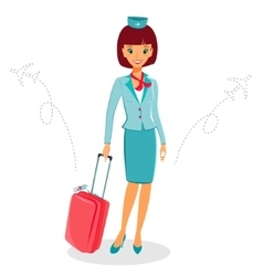 Cheerful cartoon flight attendant in uniform with vector image