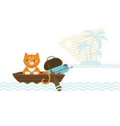 Colorful traveling cat concept vector