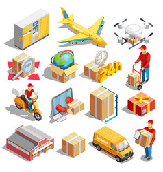 Delivery isometric icons collection vector
