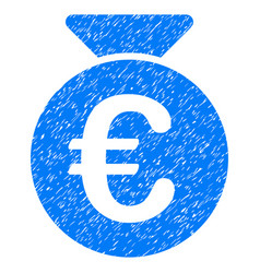 Euro money bag grunge icon vector