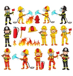 Firemen and equipments set vector image