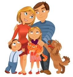 Happy family of four and two pets vector image vector image