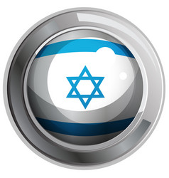 Israel flag design on round badge vector