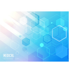 Medical care blue background with hexagonal vector