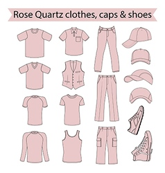 Menswear headgear shoes rose quartz color vector