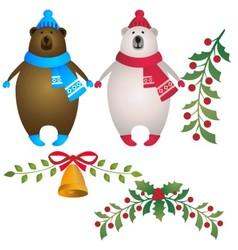 Merry christmas bears vector