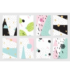 Modern creative abstract cards set with textures vector